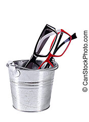 Optical eyeglasses in a bucket