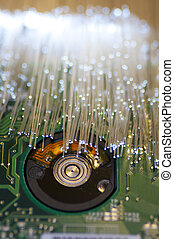 Optical fiber picture with details and light effects.