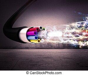 Optical fiber - Image of an optical fiber with lights