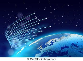 Optical fibres internet speed around blue planet, dark space background