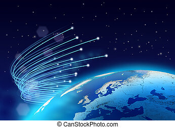 Optical fibres internet speed around blue planet, dark space...