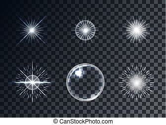 Optical flares vector set, transparent background, templates