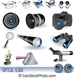 Optical icons - A set of different optical images over white...