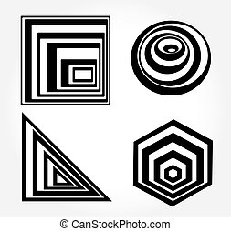 Optical illusion black and white opt art icons vector. Geometric opt art icons