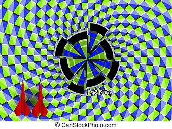 optical illusion. darts with dartboard