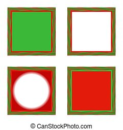 Illustration of four holiday frames, on a white background. This appears to be an optical illusion, but each frame is a square.