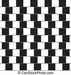 Optical illusion - parallel lines made from black and white...