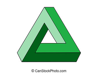 Optical illusion. Penrose impossible triangle. This illusion uses overlapping parallel lines drawn in different perspectives