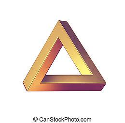 Optical illusion. Penrose triangle isolated on white background