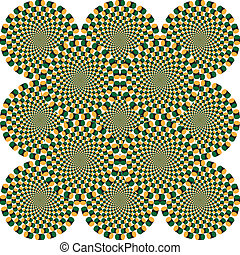 Optical illusion spinning circles