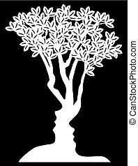 Optical Illusion Tree Faces Concept