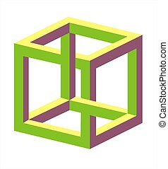Optical illusion twisted square very big size over white