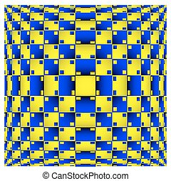 Optical Illusion. Vector 3d Art. Distortion Dynamic Effect. Geometric Magic Background.