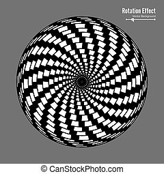 Optical Illusion. Vector 3d Art. Rotation Dynamic Effect. Spin Cycle. Swirl Pool Rings. Geometric Magic Background.