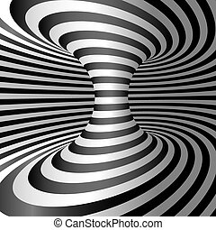 Optical illusion - Wormhole. Abstract 3d striped illusion....