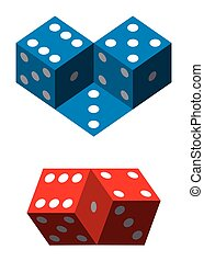 Optical illusions with dice. Geometrical illusion with blue...