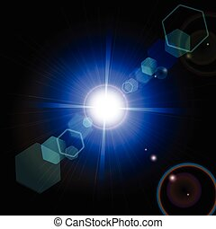 Optical lens flare glare lights super high resolution. Lighting effects of flash. Easy to use.