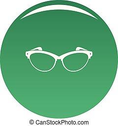 Optical lens icon vector green