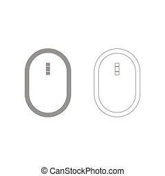 Optical mouse the grey set icon .