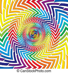 Optical rainbow round arrows vector abstract illustration.