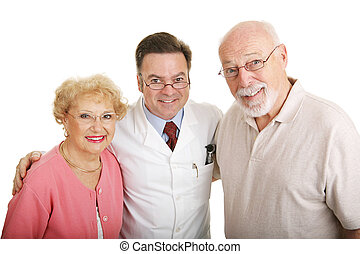 Senior couple posing in their new glasses with their optometrist. Isolated on white.