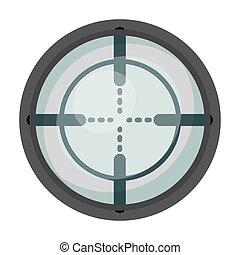 Optical sight. Paintball single icon in monochrome style vector symbol stock illustration web.