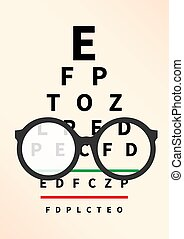 Optician Concept. - Eye glasses with eye chart. Optician, ...