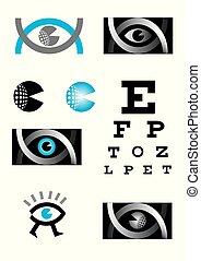 Optician, eye, icon set.