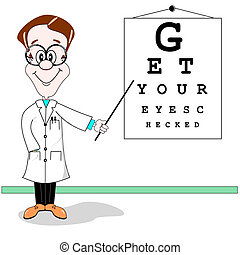 Cartoon illustration of an optician pointing to eye test