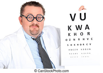 Optician giving eye test