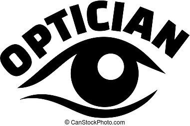 Optician job title eye - Eye close-up with optician job...