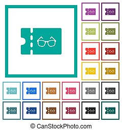 Optician shop discount coupon flat color icons with quadrant...