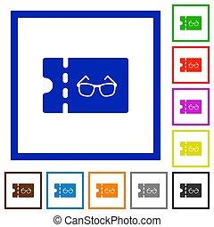 Optician shop discount coupon flat framed icons - Optician...