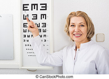 Optician showing symbols of Snellen chart - Elderly optician...
