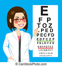 Optician Woman Pointing - Portrait illustration of young...