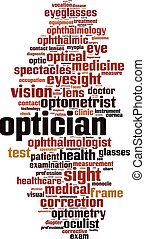 Optician word cloud - vertical - Optician word cloud concept...