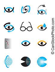 Optics eye icons symbols - Set of optics, Optometry eye ...