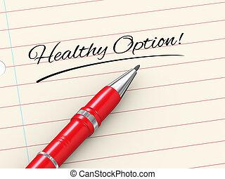 optie, gezonde , -, pen, papier, 3d