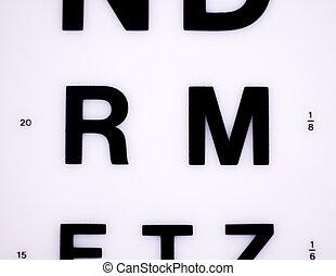 optiker, sehen prüfung, tabelle