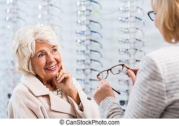 optiker, verkauf, brille