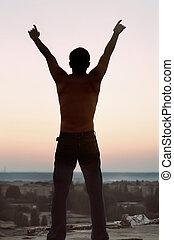 optillen, silhouette, freedom., jonge, handen, man, omhoog