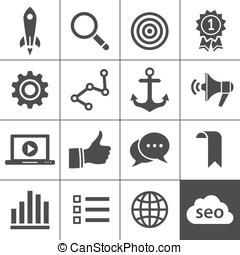 optimisation moteur recherche, icône, ensemble