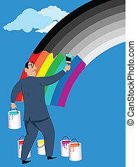 A smiling businessman painting monochrome rainbow in bright colors, vector illustration