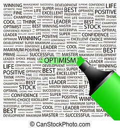OPTIMISM. Background concept wordcloud illustration. Print ...