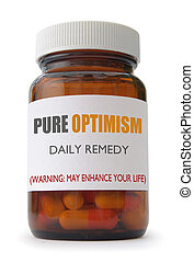 Optimism - Container of 'optimism' pills over a white ...