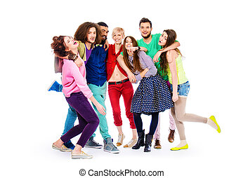 optimism - Large group of cheerful young people. Isolated...