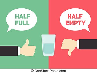 Optimism vs pessimism concept. Half empty and half full glass of water vector illustration