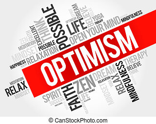 Optimism word cloud concept