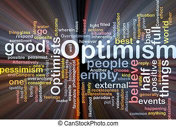 Optimism word cloud glowing - Word cloud concept...