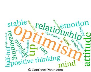 Optimism word cloud on a white background.